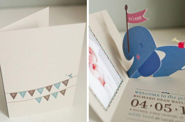 Pop up birth announcement elephant