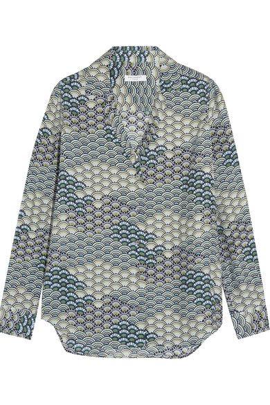 447b597410ea75 Equipment - Adalyn Printed Washed-silk Shirt - Blue