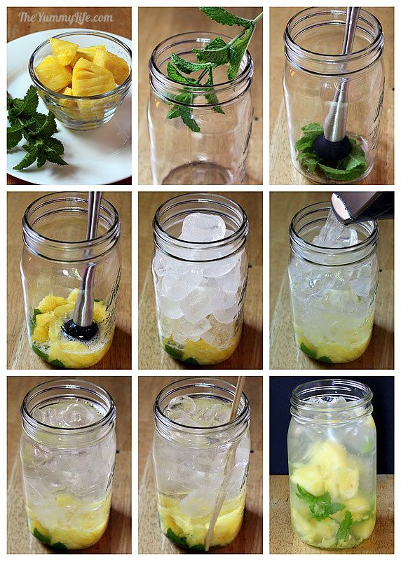 Pineapple Mint Flavored Water (a hint of minty sweetness). Add a sprig of mint to the jar--you can throw in the whole sprig; or, remove the leaves from the sprig, if you prefer to have the mint swimming around and distributing in the jar. Muddle the mint--the goal is to bruise the leaves and release their flavor--dont pulverize them into bits. Add pineapple pieces, press and twist with the muddler to release juices. Add ice to the top and then water. Stir, cover, and refrigerate.