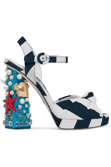 Dolce & Gabbana - Embellished Striped Canvas Sandals - Navy - IT40