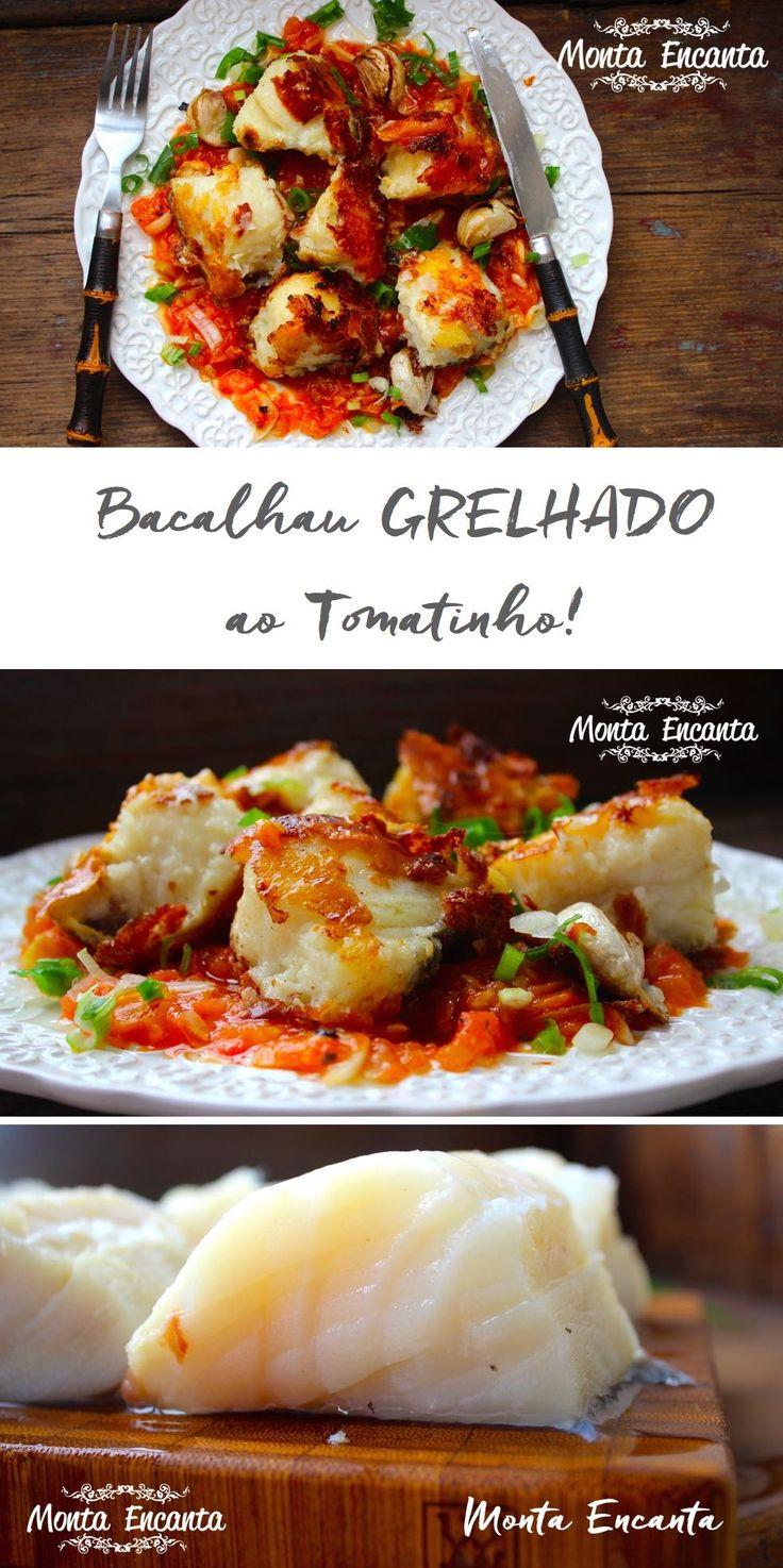 Bacalhau grelhado ao tomatinho, é fácil de fazer. Feito na boca do fogão fica mais suculento que a tradicional receita ao forno!