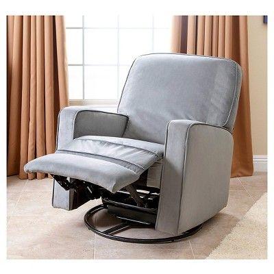 Bella Fabric Swivel Glider Recliner Chair - Grey - Abbyson Living