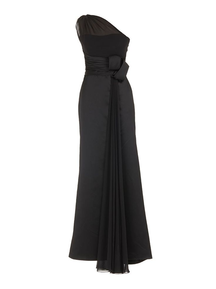 One-shoulder evening gown Black