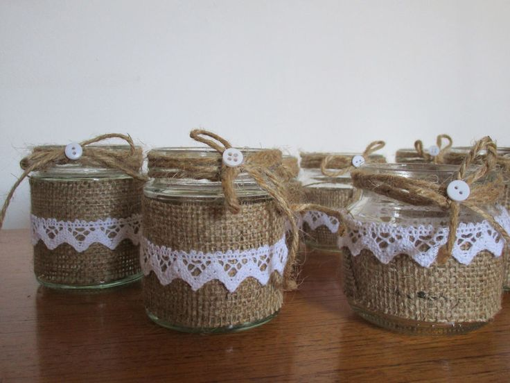 Shabby Chic / Rustic Wedding / Vintage 9 Decorated Glass Jars - Centre Pieces -