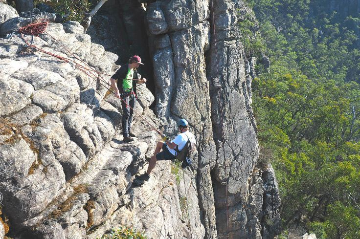 Going over the edge, abseiling in the Grampians with Hangin Out. #abseiling #grampiansnationalpark