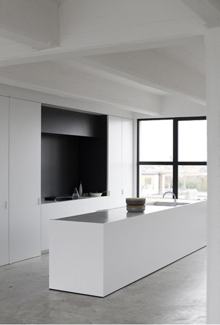 Black and white kitchen, concrete floors