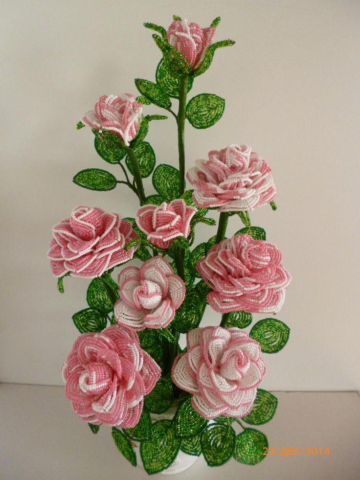 Rosa Rosen....aus Perlen.