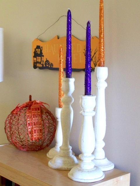 diy halloween glitter candles - Glitter Halloween Decorations
