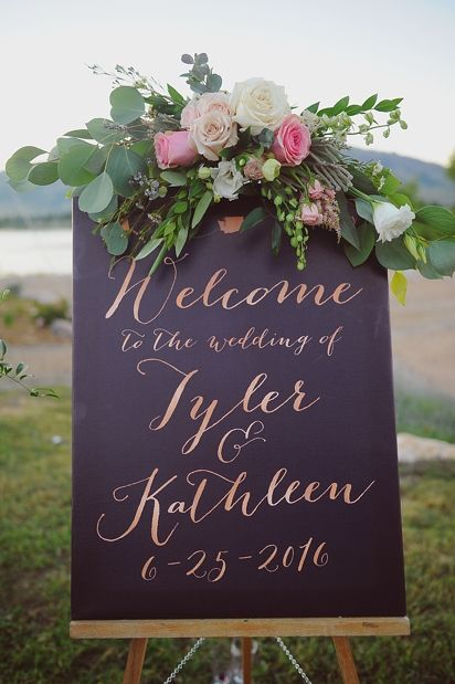 Custom rose gold wedding sign by Miss Design Berry. Photography by Fauset Photography.