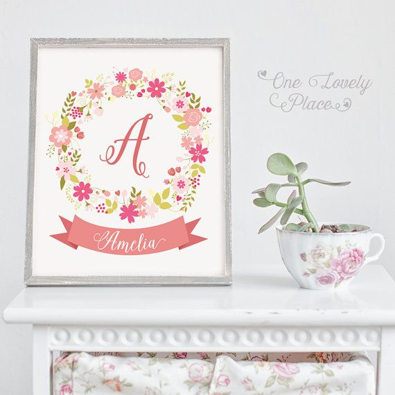 Baby monogram nursery print for baby girl. A for Amelia.  >> If you need a different name please send me a message before purchase. <<  8x10