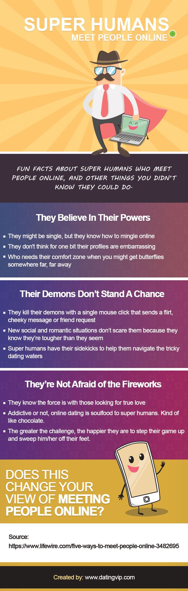 Fun facts about super humans who meet people online, and other things you didn't know they could do.