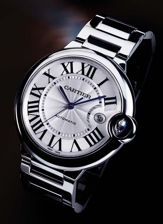 "Cartier ballon bleu.  Pure elegance and sophistication, the Ballon Bleu  Cartier watches for women gets its name from the blue sapphire, a detail that lends a amazing and distinctive touch to the watch. Other curiosities include a Roman numeral slightly ""out of place"" (due to the winding mechanism) and blue steel hands, sword-shaped."