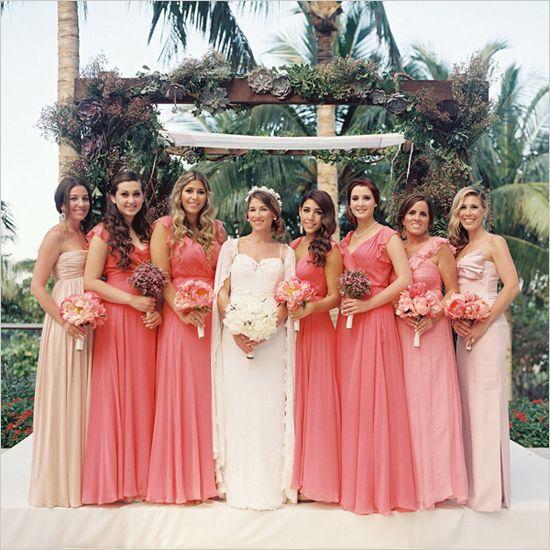 coral bridesmaid dresses #bridesmaids #ombredresses #weddingchicks http://www.weddingchicks.com/2014/01/20/party-light-wedding/