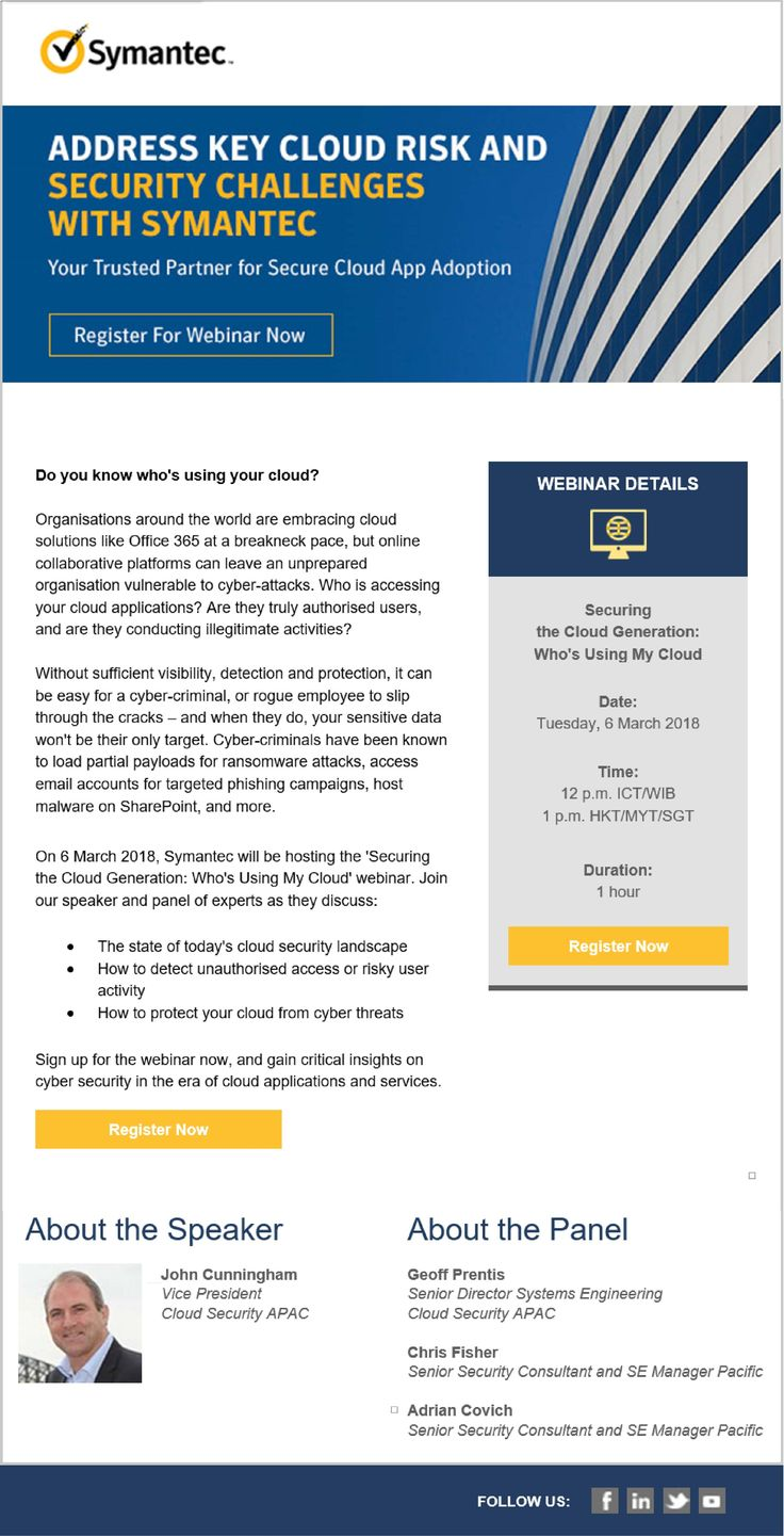 Organisations around the world are embracing cloud solutions like Office 365 at a breakneck pace, but online collaborative platforms can leave an unprepared organisation vulnerable to cyber-attacks. Who is accessing your cloud applications? Are they truly authorised users, and are they conducting illegitimate activities?  #InfoNetTrain #CloudSolution #Security #Symantec #Collaborative #Platforms #Organisation #CyberAttacks