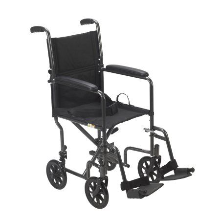 "Drive Medical Lightweight Steel Transport Wheelchair, Fixed Full Arms, 17"" Seat"