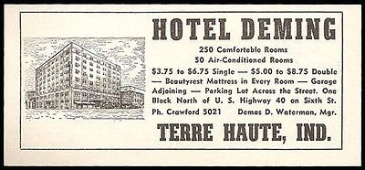 Hotel Deming Ad Terre Haute Indiana 250 Rooms 50 w AC 1954 Roadside Ad Travel