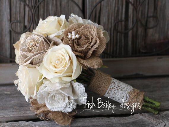 burlap and lace wedding bouquet toile de jute jute et bouquet. Black Bedroom Furniture Sets. Home Design Ideas