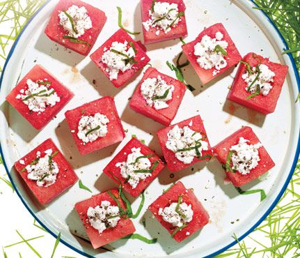 Summer Picnic Recipes Under 300 Calories: Feta-Stuffed Watermelon Blocks: They look fancy, but these bite-size cubes are simple. #summer #snack #watermelon #feta #refreshing #delicious #appetizer #hosting