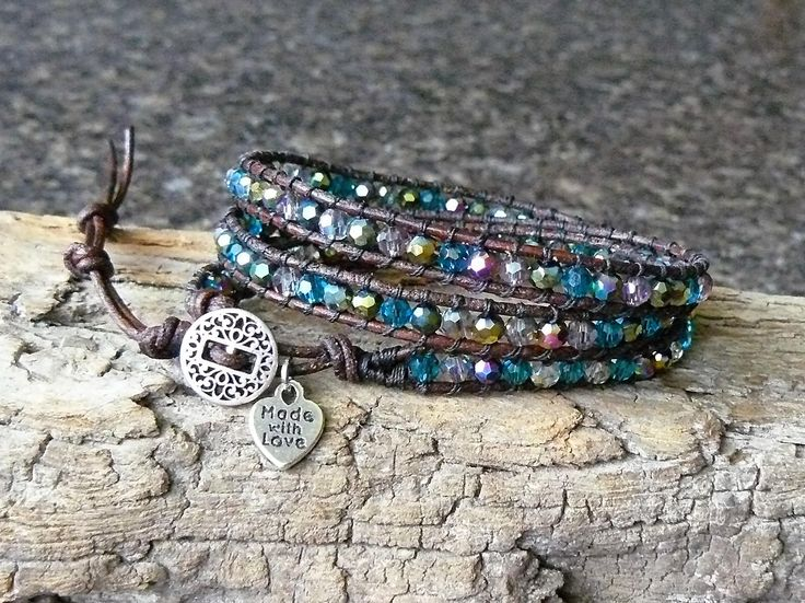 Blue Crystal Beaded Wrap Bracelet~Leather Wrap Bracelet~Handmade by DJsWrapBracelets on Etsy
