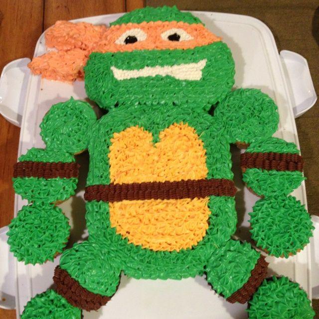 ninja turtle cupcakes   Teenage mutant ninja turtle cake/cupcakes- turtle power!!!!