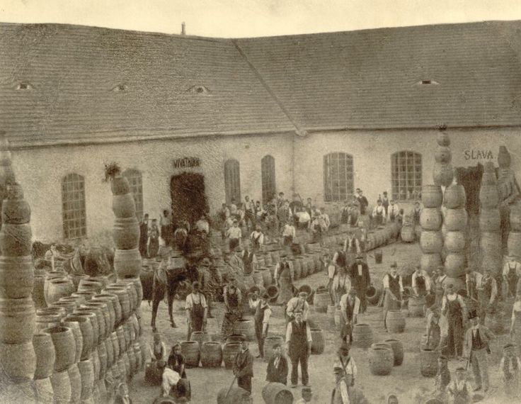 From Pilsner Urquell's brewery photo archives: The coopers' yard in Plzen in 1870
