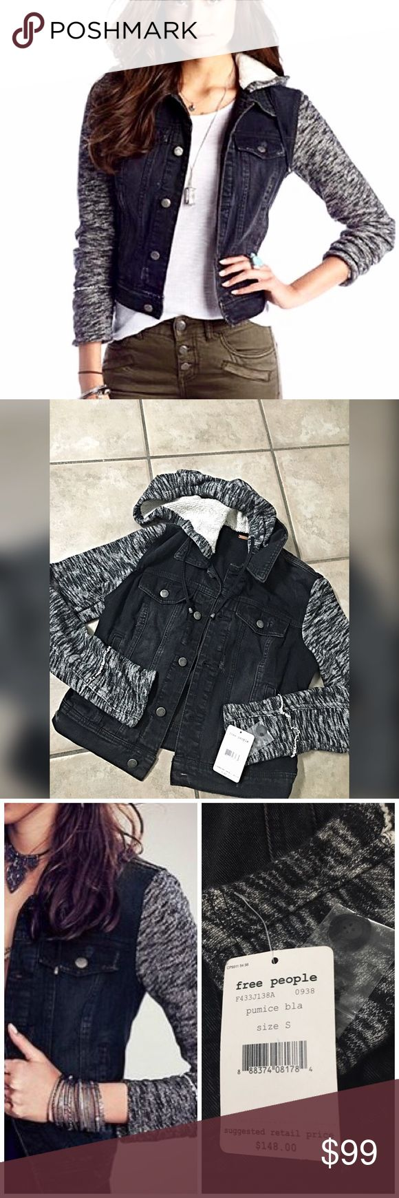 Free People Multimedia hooded Denim jean jacket Distressed denim jacket with attached knit sleeves and hood. Button front closure and two front slit pockets. All over roughed look. A cool piece to add a tomboy edge to any look.  *100% Cotton *Machine Wash Cold- in Pumice Black Free People Jackets & Coats Jean Jackets