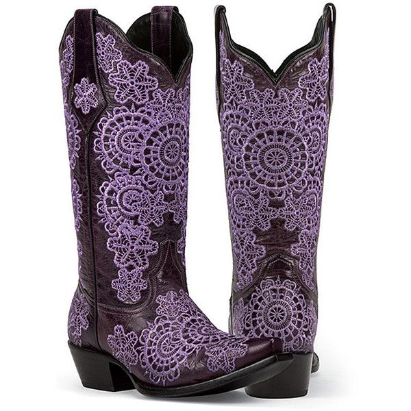 Black Star Purple Medina Leather Cowboy Boot ❤ liked on Polyvore featuring…