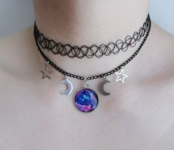 galaxy choker necklace by OfStarsAndWine on etsy pastel goth, grunge, nu goth, soft grunge