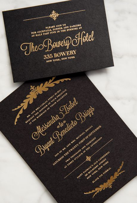 Brides.com: . This formal black-and-gold invitation suite, custom-made by the bride, is fit for a black-tie wedding. The gilded foil stamping offsets the romantic calligraphy.  See more photos from Alessandra and Bryant's glamorous New York City Wedding here.