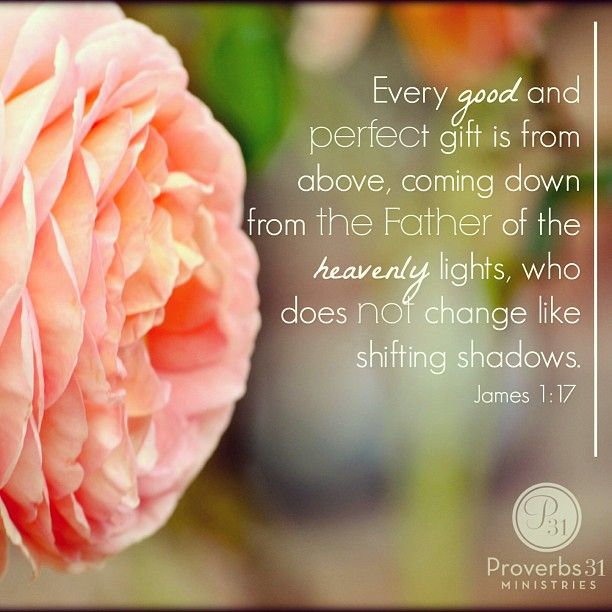 """""""Every good and perfect gift is from above, coming down from the Father of the heavenly lights, who does not change like shifting shadows."""" - James 1:17"""