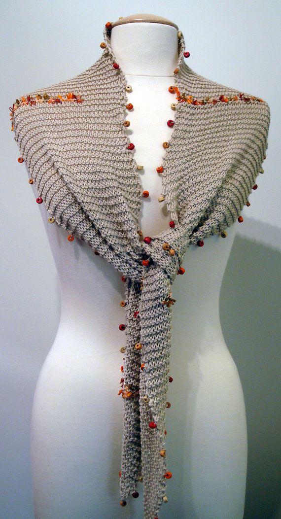 Handmade light brown cotton skinny scarf with red, orange, yellow beads
