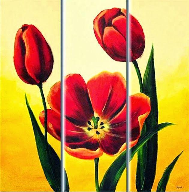 Cuadros Modernos Pinturas y Dibujos : Cuadros Tripticos en Flores