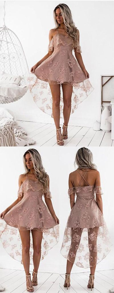 High Fashion Homecoming Dresses,A-Line Lace Prom Dresses,Off-Shoulder High Low Short Homecoming Dress,Cute Mini Sweet 16 Dresses,Homecoming Dress,BYH56