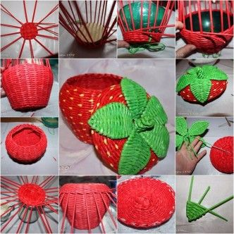 DIY woven strawberry shaped basket from newspaper tutorial, instruction.  Follow us: http://on.fb.me/1rWIbQo