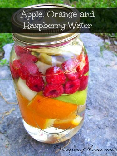 Apple, Orange and Raspberry Water in a Mason Jar - great to refill and so good for you!