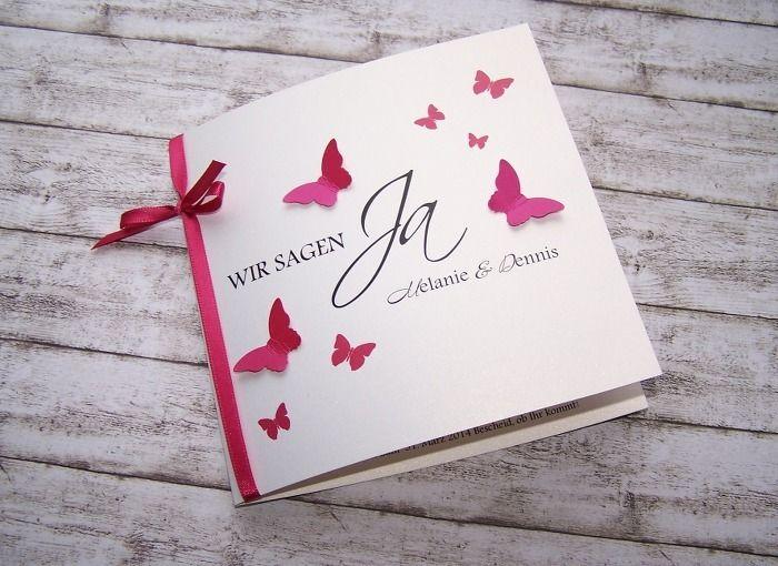 Einladungskarte Schmetterlingsschwarm Pink Von Kartenmanufaktur Arndt