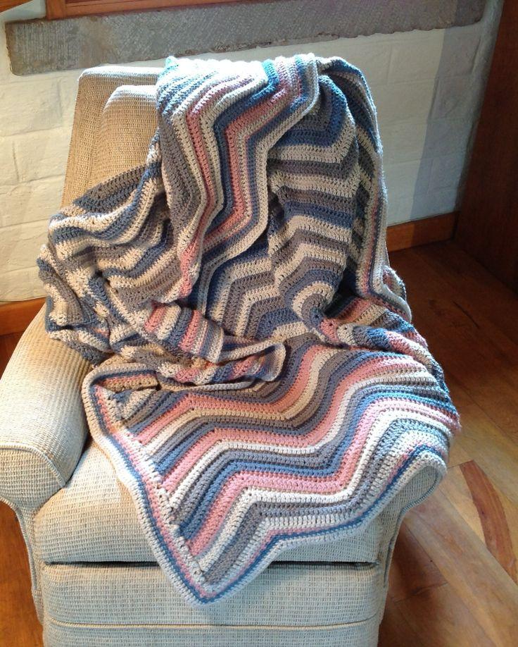 Tejida con amor...  Crochet stripped trow Afghan tejer gancho, 2011