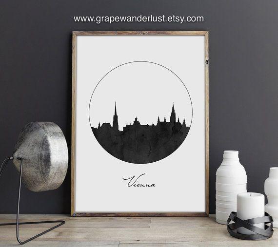 Wiener Kunst Vienna Poster Skyline von Vienna Austria