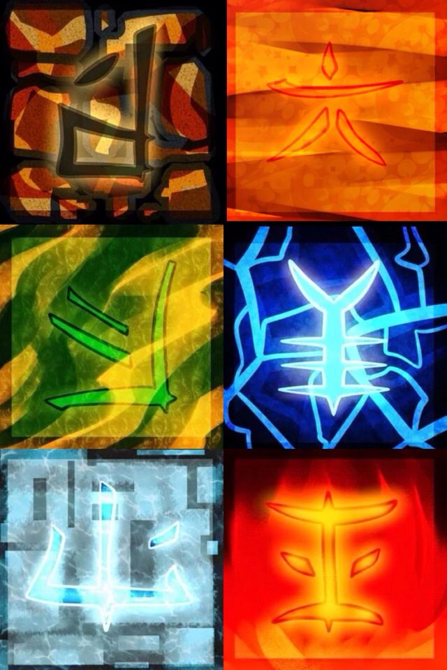 Ninjago elements by prpldragon I think. (symbol meaning) blank: idk Cole: Skyler: six Lloyd: Jay: sheep Zane: Kai: peace PIXAL: strength