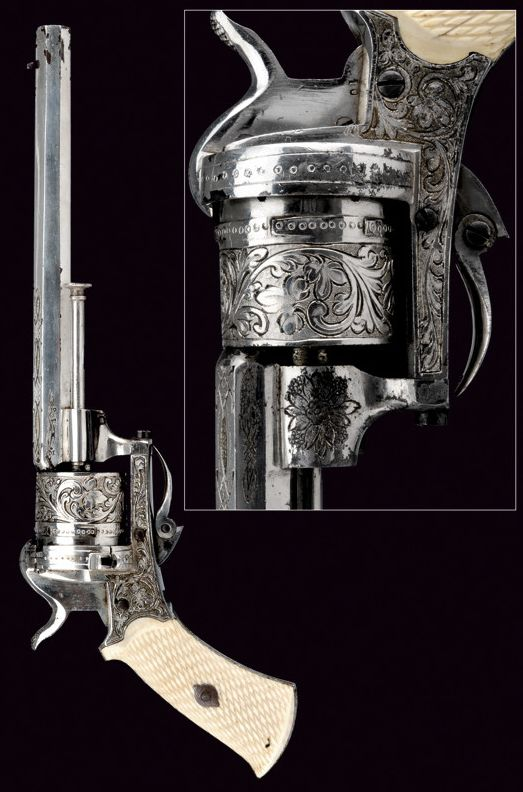 A pin-fire revolver.    provenance:	 	Belgium dating:	 	 third quarter of the 19th Century
