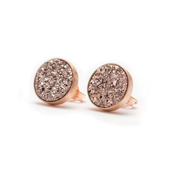 Rose Gold in Rose Gold Druzy Quartz Stud Earrings by kristinelily