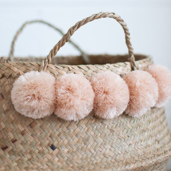 Hey, I found this really awesome Etsy listing at https://www.etsy.com/uk/listing/483811724/blush-pompom-baskets-belly-basket
