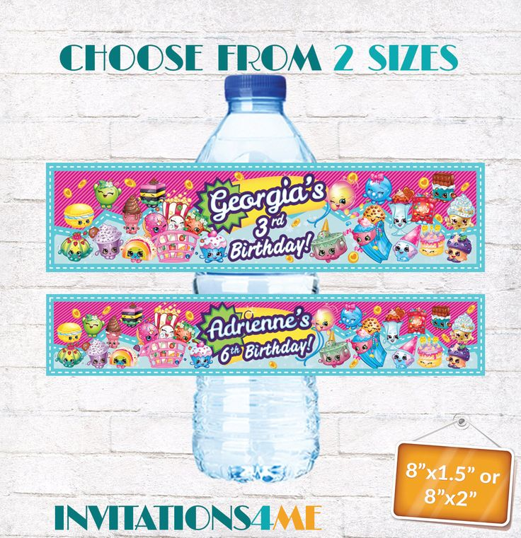 Shopkins Drink Bottle Labels Shopkins Water Bottle Wraps Shopkins Birthday Party Decorations with matching Invitation Customized Digital by INVITATIONS4ME on Etsy