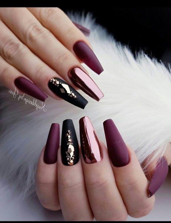 Trending Nail Colors White Fur White Dark Purple Matte Chrome Nail Polish Long Coffin Nails In 2020 Black Nail Designs Rhinestone Nails Fall Acrylic Nails