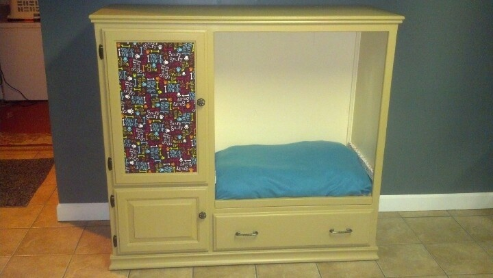 A Recycled Pet Bed From An Old Entertainment Center
