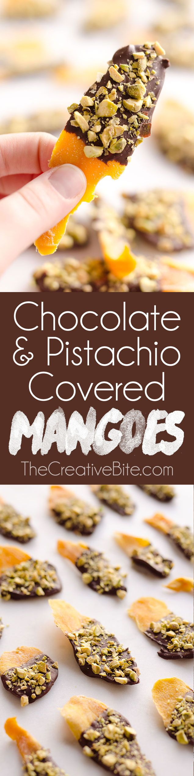 Chocolate & Pistachio Covered Mangoes are an easy and healthy treat to satisfy your sweet tooth! With only 3 simple ingredients, this delicious snack comes together in no time and is perfect for on the go. #Healthy #Snack #Fruit