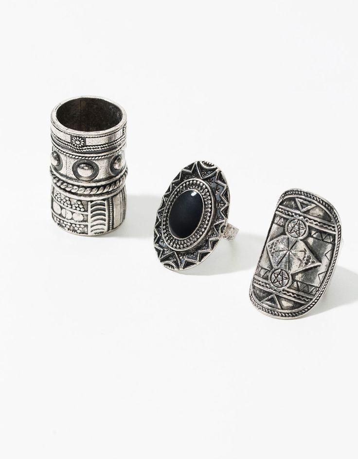Set 3 anillos grabados - Accesorios - Bershka España