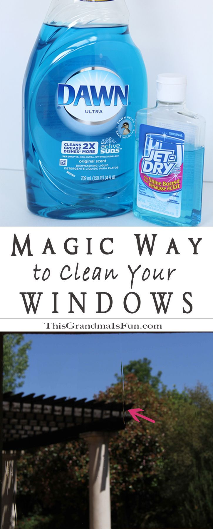 The magic way to clean your windows, does such a thing exist in the real world? Yes, it does, wands and magical training are not required. Dawn Dishwashing soap, Jet Dry, and some warm water are all you need. Before finding this magical cleaning method, I procrastinated washing my windows. Getting them clean took what felt like a herculean effort on my part. Now I can get one sliding glass door and eight full-length windows clean and streak free in ten minutes!