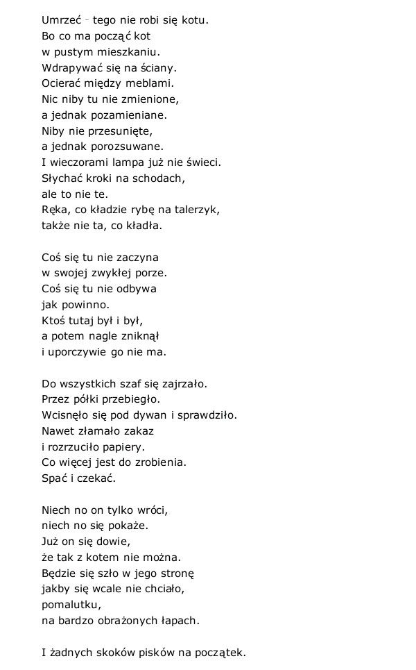 """Kot w pustym mieszkaniu""  Wisława Szymborska"