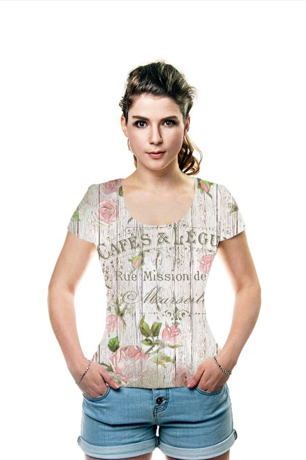 fashion french, typography, vintage, shabbychic, antique, flowers, floral, rose, roses, script, grunge T-Shirt by OArtTee